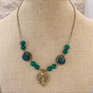 Jewelry - Miraculous Medal Virgin Mary Teal Beaded Necklace